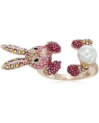 Betsey Johnson - S Pink And Rose Gold Bunny Ring - Lyst