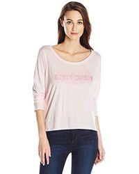 Guess - Long Sleeve Glitter Blocked Logo T-shirt, - Lyst