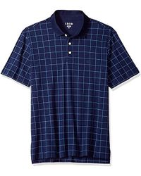 Izod - Winward Short Sleeve Windowpane Interlock Polo, Peacoat, Large - Lyst