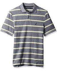 Nautica - Short Sleeve Cotton Pique Striped Oxford Polo Shirt - Lyst