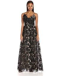 ML Monique Lhuillier - Embroidered Applique Gown - Lyst