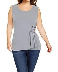Calvin Klein - Sleeveless Top With Gathered Bar - Lyst