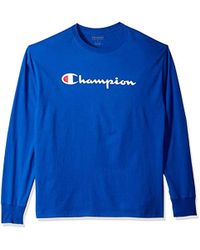 0731a8d0 Lyst - Champion Classic Jersey Long Sleeve Graphic T-shirt in Blue ...