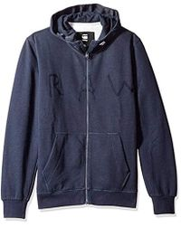 G-Star RAW - Strijsk Stand Collar Full Zip Sweatshirt Blue, - Lyst