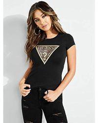 Guess - Short Sleeve Leopard Triangle T-shirt - Lyst