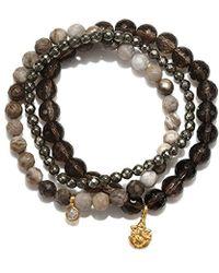 Satya Jewelry - Smokey Quartz, Agate, Pyrite Gold Plate Ganesha Stretch Bracelet - Lyst