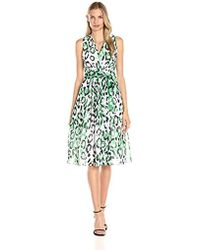 Anne Klein - Printed Chiffon Vneck Midi Dress - Lyst