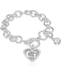 Guess - Toggle Chain Bracelet With Logo Heart Link Charm Bracelet - Lyst