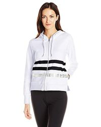 d0b13a1eb2e4b Calvin Klein - Performance Metallic Stripe Logo Zip Front Hoodie Jacket -  Lyst