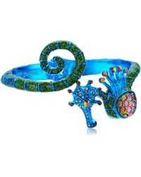 Betsey Johnson - S Blue Seahorse Bangle Bracelet - Lyst