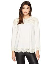 Kensie - Smooth Stretch Crepe Long Sleeve Lace Top - Lyst