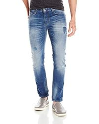 Armani Jeans - Slim Fit Denim With Patchwork - Lyst
