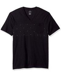 Armani Exchange -   X Micro Print Short Sleeve V Neck Tee - Lyst
