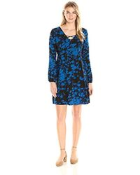 James & Erin - Laced-front Blouson-sleeve Flare Dress - Lyst