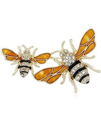 """Napier - """"classics"""" Boxed Gold Tone And Yellow Bee Brooch Pin - Lyst"""