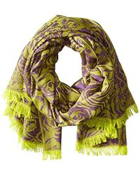 Badgley Mischka - Abstract Wool Floral Wrap - Lyst