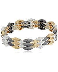 Napier - Classics Tri-tone Interlocking Stretch Bracelet - Lyst