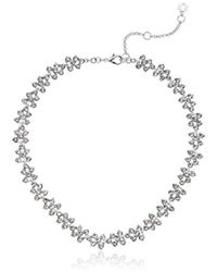 Anne Klein - Silver Tone And Crystal All Around Collar Necklace - Lyst