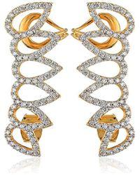 Noir Jewelry - Pave Cubic Zirconia Leaf Ear Cuffs - Lyst