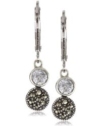 Judith Jack - Sterling Silver Cubic Zirconia With Marcasite Pave Mini Drop Earrings - Lyst