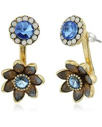 "Betsey Johnson - ""betsey Blues"" Faceted Stone Flower Front Back Earring Jacket - Lyst"