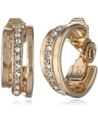 """Napier - """"classic Clips"""" Gold-tone And Crystal C Hoop Earrings - Lyst"""