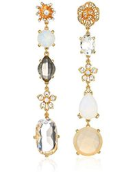 Badgley Mischka - Asymmetrical Champagne Crystal Linear Gold Drop Earrings, One Size - Lyst