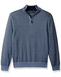 Nautica - Long Sleeve 1/4 Zip Solid Sweater With Suede Pull Detail - Lyst