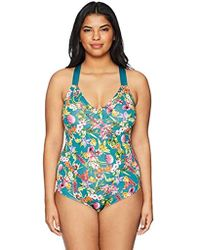 4478c6a537c83 Lyst - Gottex Plus Size Aztecprint Ruffle One-piece Swimsuit in Pink