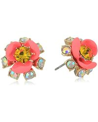 Betsey Johnson - S Pink And Gold Flower Stud Earrings - Lyst