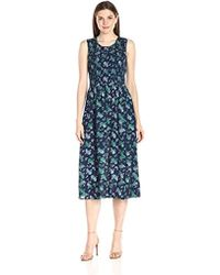 Lark & Ro - Sleeveless Smocked Midi Dress - Lyst