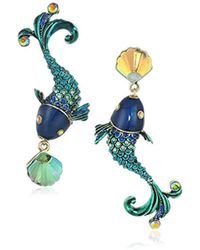 Betsey Johnson - S Colorful Fish Mismatch Drop Earrings - Lyst