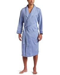 Nautica - Long Sleeve Lightweight Cotton Woven Robe - Lyst