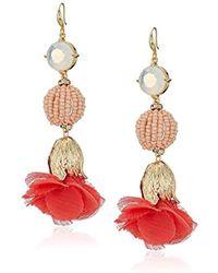 Badgley Mischka - S Fabric Flower Seed Bead Drop Earrings, Gold Tone, One Size - Lyst