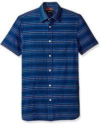 Jack Spade - Indigo Stripe Short Sleeve Dobby Shirt - Lyst