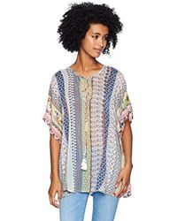 Johnny Was - Relaxed Short Sleeve Rayon Blouse With Tassel Tie - Lyst