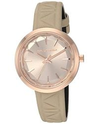 Karl Lagerfeld - Janelle Quartz Stainless Steel And Leather Watch, Color Rose Gold-tone, Light Brown (model: Kl1612) - Lyst