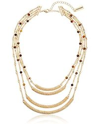 "Steve Madden - Gold 4 Row Textured Agate Crescent Necklace, 15"" + 3"" Extender - Lyst"