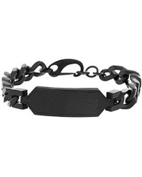 Ben Sherman - Curb Chain Bracelet With Black Faux Leather Id Plate In Black Ip Stainless Steel - Lyst