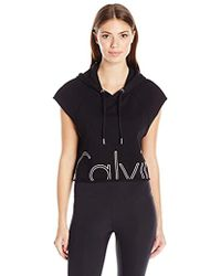 Calvin Klein - Performance Outline Cut Off Logo Crop Pullover Hoodie - Lyst