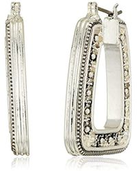 Napier - Silver With Antique Click It Hoop Earrings - Lyst