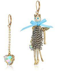 Betsey Johnson - Angel Cat And Heart Mismatch Drop Earrings - Lyst