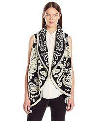 Nanette Nanette Lepore - Boiled Wool Paisley Flyaway Sweater Vest - Lyst