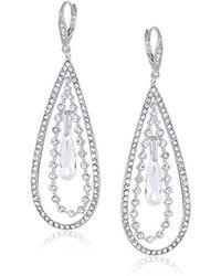 Anne Klein - Crystal Large Orbital Drop Earrings, Silver - Lyst