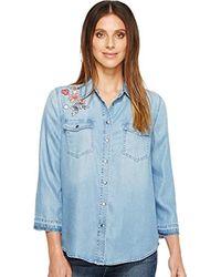 NYDJ - Embroidered Denim Shirt - Lyst