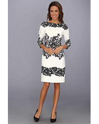 Adrianna Papell - 3/4 Sleeve Floral Lace Sheath Dress - Lyst