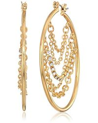 Guess - S Hoop With Draped Chains And Stones Inside Earrings - Lyst