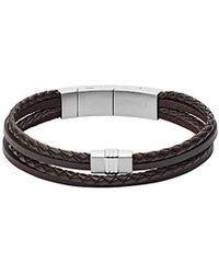 Fossil - Brown Multi-strand Braided Leather Bracelet, One Size - Lyst