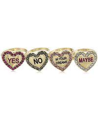 Betsey Johnson - S Conversation Heart Ring Set - Lyst