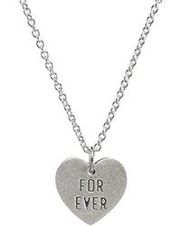 """Dogeared - Reminder Forever And Ever For Ever Engraved Heart Charm Chain Necklace, 16"""" + 2"""" Extender - Lyst"""